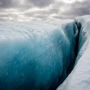 Heli hike Iceland crevasse field