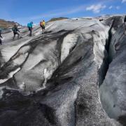 Glacier hiking on Solheimajokull in Iceland