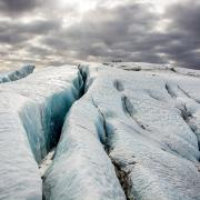 Blue ice on Solheimajokull Iceland